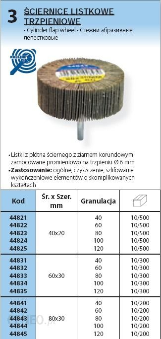 PROLINE śCIERNICA LISTKOWA TALERzOWA śR.40xSzER.20 mm