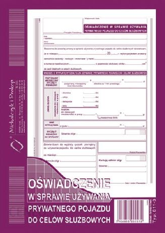 Michalczyk & Prokop Oświadczenie W Sprawie Używania Prywatnego Pojazdu Do Celów Służbowych A5