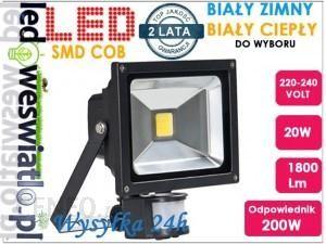 led-lux HALOGEN LAMPA NAŚWIETLACZ LED 20W z czujnik ruchu 942D-1640B